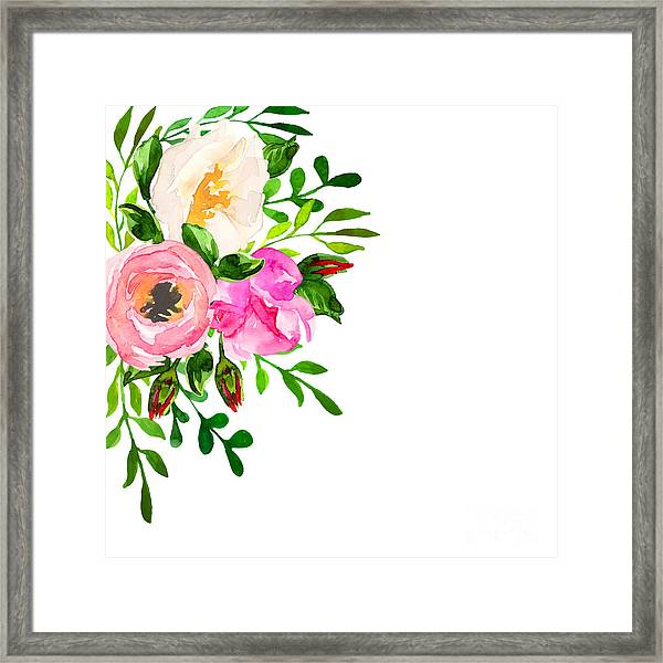 Beautiful Floral Hand Drawn Watercolor Framed Print