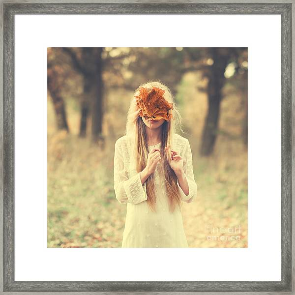 Beautiful Girl In A Dress In The Autumn Framed Print