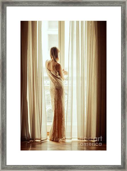 Beautiful Girl In Long Dress Standing Framed Print