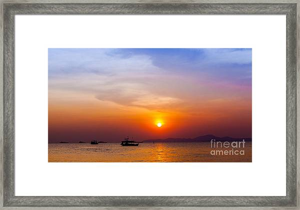 Beautiful Landscape. Sunset On The Framed Print