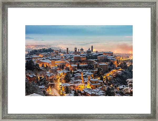 Beautiful Medieval Town At Sunrise Framed Print