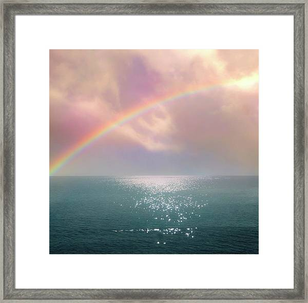Beautiful Morning In Dreamland With Rainbow Framed Print