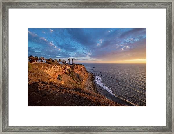 Beautiful Point Vicente Lighthouse At Sunset Framed Print