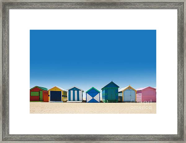 Beautiful Small Bathing Houses On White Framed Print