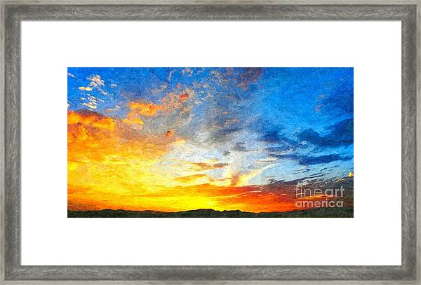 Beautiful Sunset In Landscape In Nature With Warm Sky, Digital A Framed Print