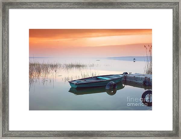Beautiful Sunset On Lake Balaton With Framed Print