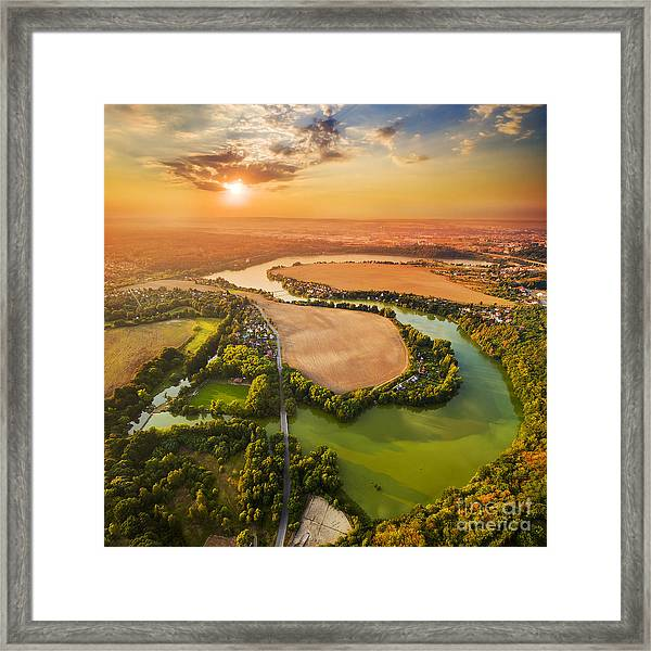 Beautiful Sunset Over Czech Valley Framed Print by Kletr