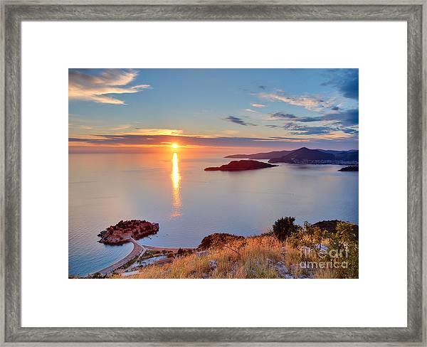 Beautiful Sunset Over Montenegro Framed Print