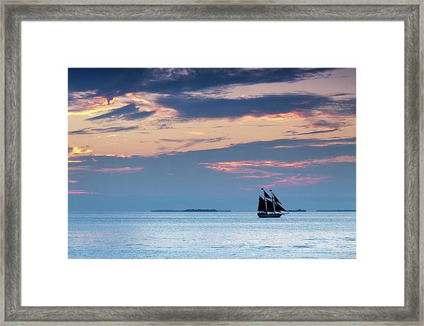 Beautiful Sunset Sailing In Key West Framed Print