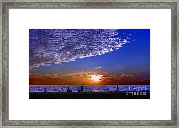 Beautiful Sunset With Ships And People Framed Print