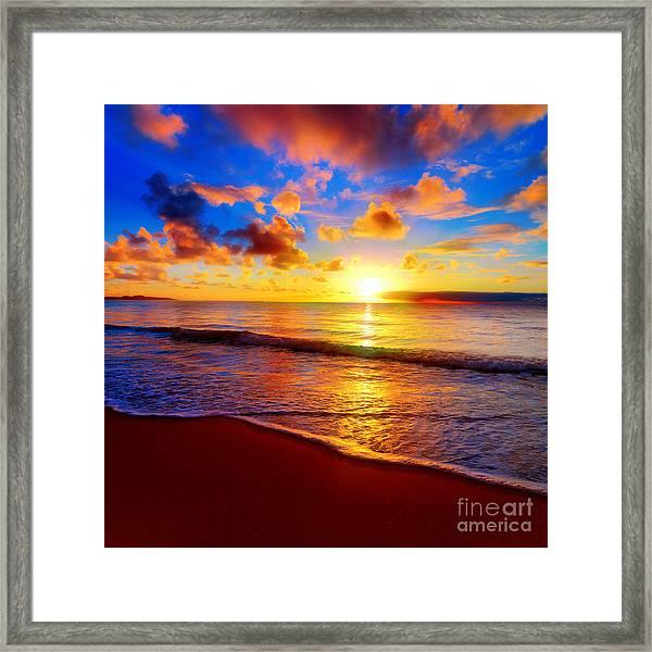 Beautiful Tropical Sunset On The Beach Framed Print