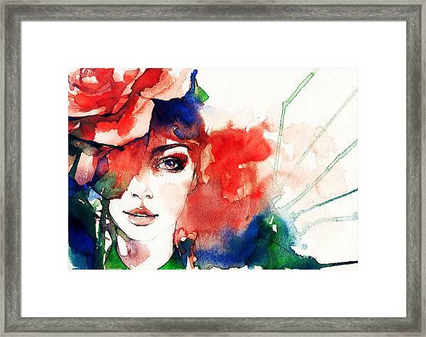 Beautiful Woman Face. Watercolor Framed Print
