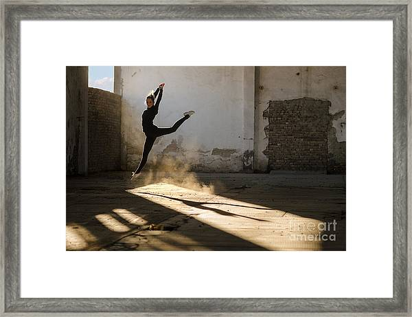 Beautiful Young Ballerina Dancing In Framed Print