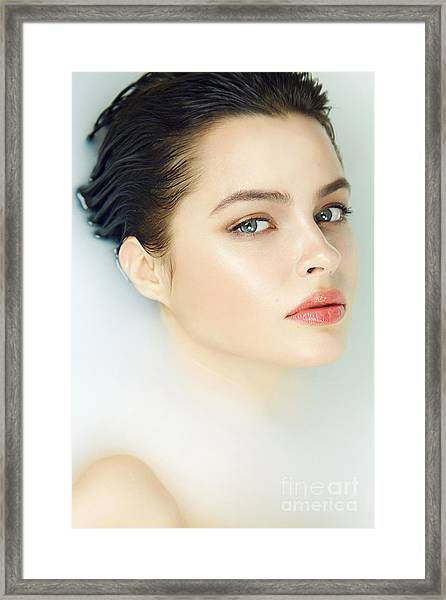Beautiful Young Sexy Girl With Dark Framed Print