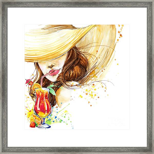 Beautiful Young Woman With Fruit Framed Print
