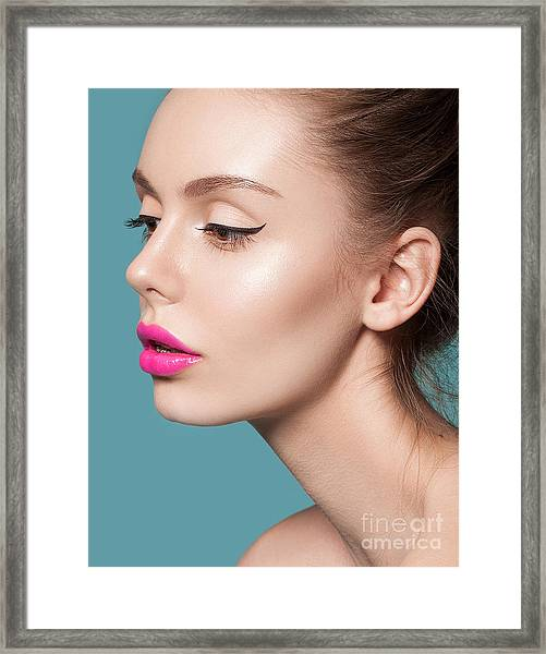 Beautiful Young Woman With Pink Lips Framed Print