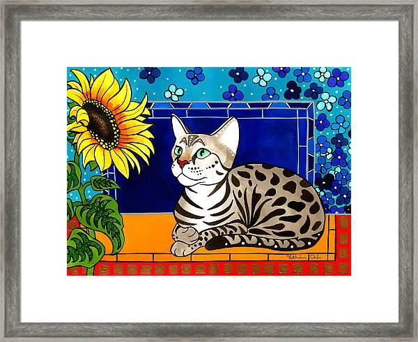 Beauty In Bloom - Savannah Cat Painting Framed Print