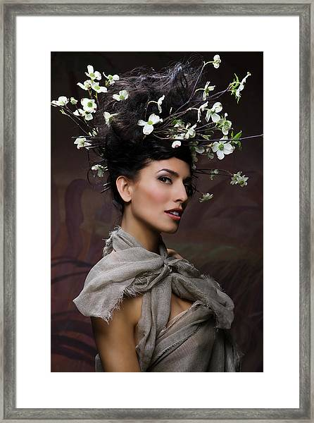 Beauty Portrait Of Woman Entwined In Framed Print
