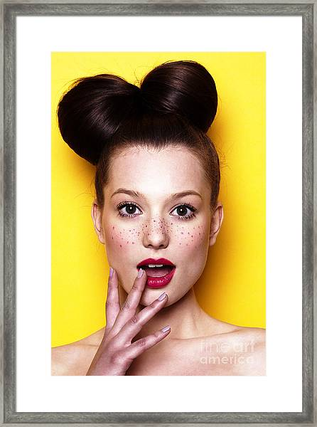 Beauty Surprised Teenager Model Girl Framed Print