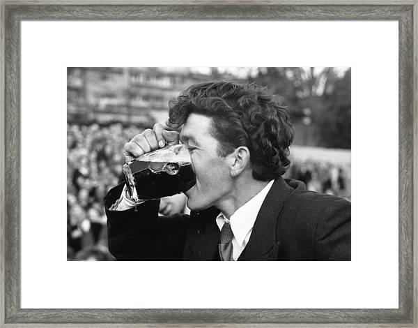 Beer Drinker Framed Print by Joseph Mckeown