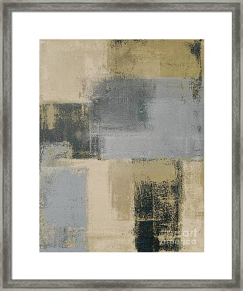 Beige And Grey Abstract Art Painting Framed Print