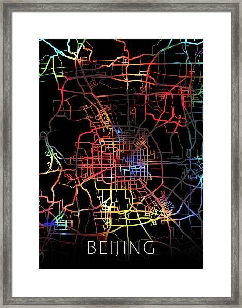 Beijing China City Street Map Watercolor Dark Mode Framed Print