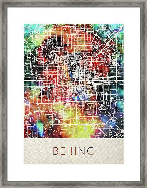Beijing China Watercolor City Street Map Framed Print