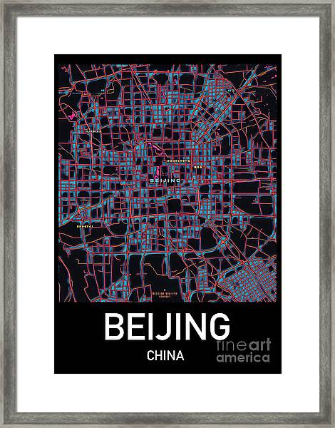 Beijing City Map Framed Print