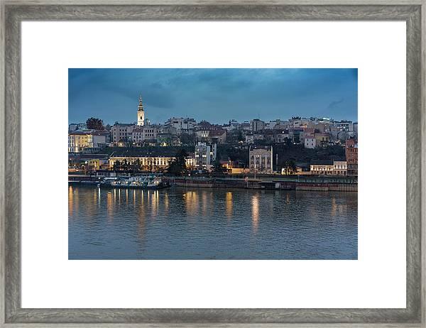 Framed Print featuring the photograph Belgrade Skyline And Sava River by Milan Ljubisavljevic