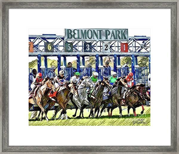 Belmont Park Starting Gate 1 Framed Print