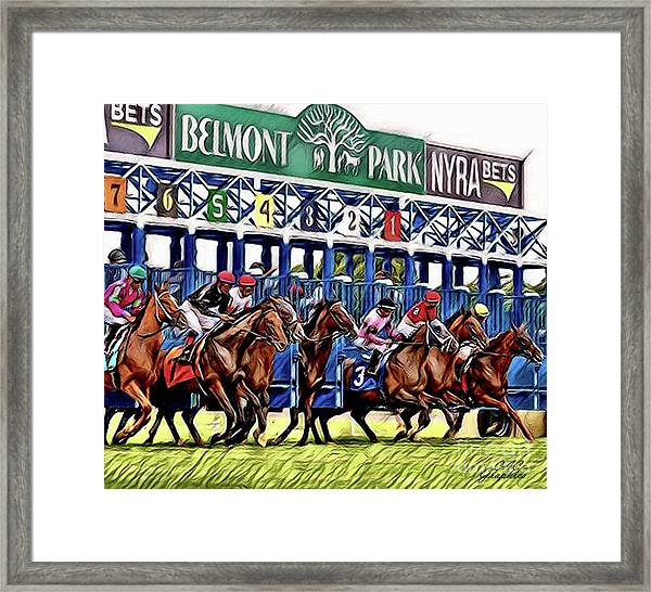 Belmont Park Starting Gate 2 Framed Print