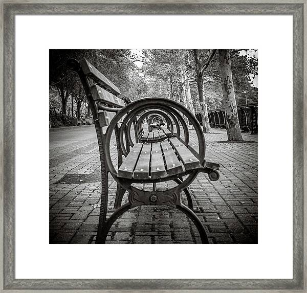 Framed Print featuring the photograph Bench Circles by Steve Stanger