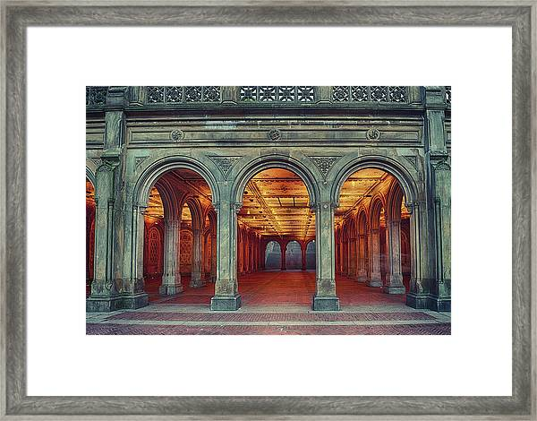 Bethesda Terrace In Central Park - Hdr Framed Print