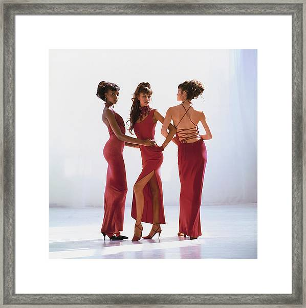 Beverly Peele, Susan Holmes, And Claudia Mason In Red Dresses Framed Print by Arthur Elgort