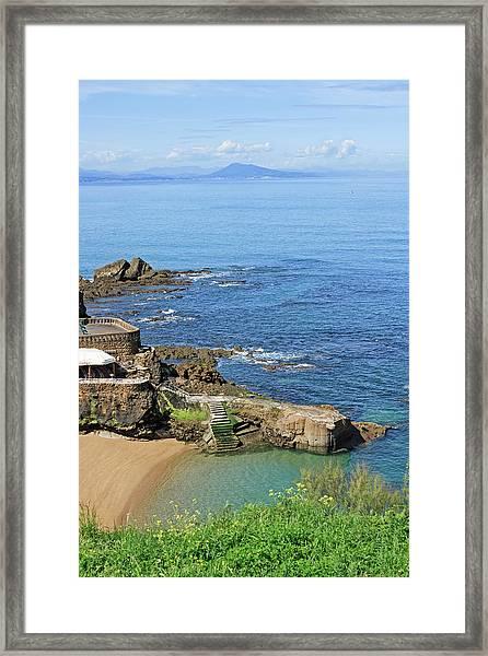 Biarritz - Beach With Rocks Framed Print