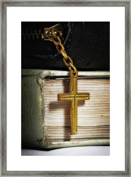 Bibles With Cross Framed Print