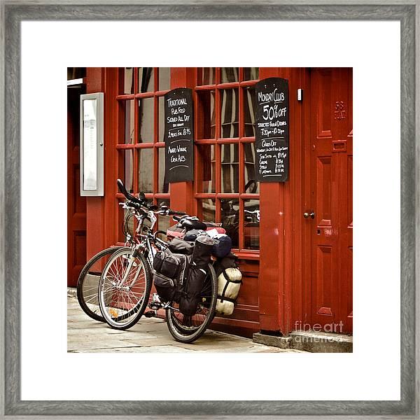 Bicycles On The British Pub, Durham Framed Print