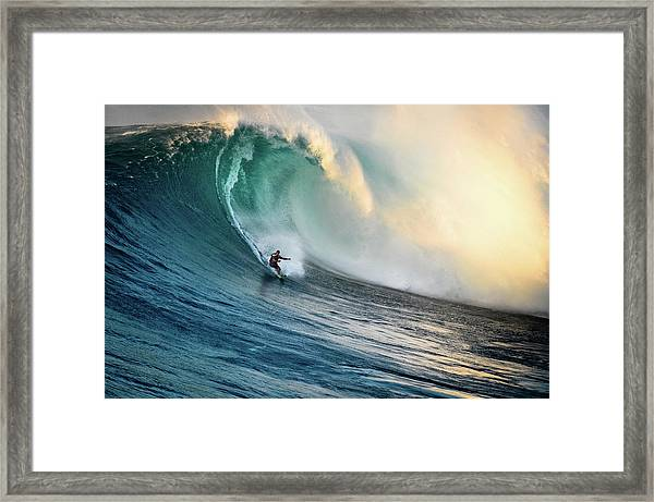 Big Wave Surfer At Jaws, Maui, Hawaii Framed Print by Kjell Linder
