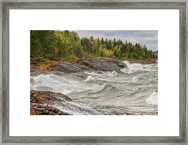 Big Waves In Autumn Framed Print