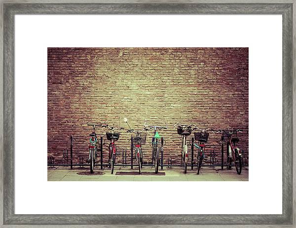 Bike Parking In Bologna, Italy Framed Print