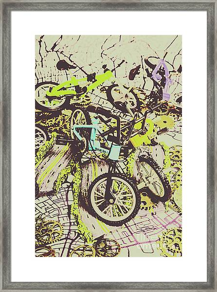 Bikes And City Routes Framed Print