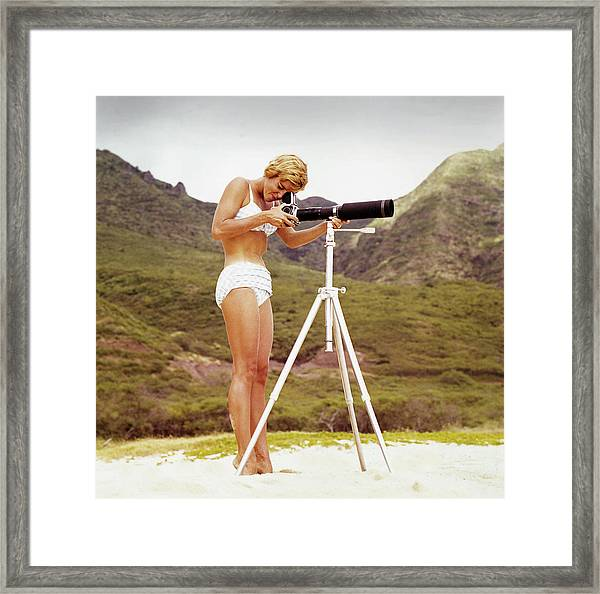 Bikini Girl And Camera Framed Print by Tom Kelley Archive