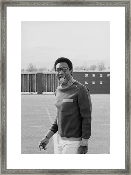 Bill Cosby Sticks His Tongue Out Framed Print by Michael Rougier