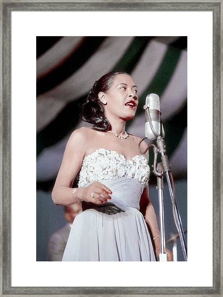 Billie Holiday At Newport Jazz Framed Print