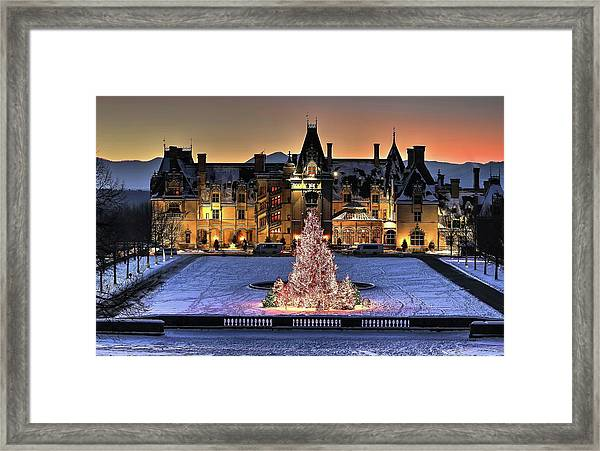 Biltmore Christmas Night All Covered In Snow Framed Print