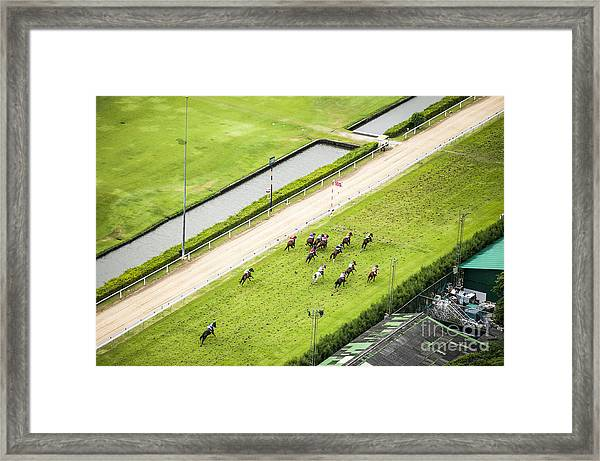 Bird Eyes View Horse Racing Framed Print