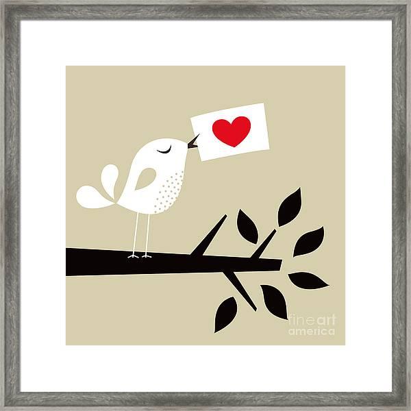Bird Love Card Framed Print