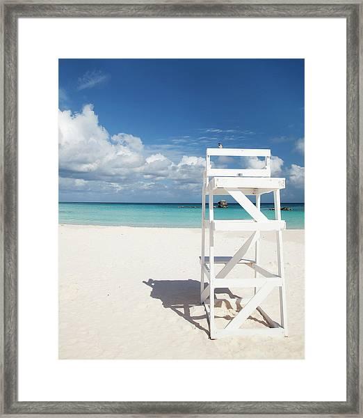 Bird On A Lifeguard Chair, Horseshoe Framed Print