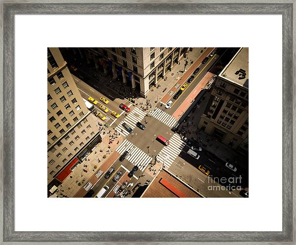 Birds Eye View Of Manhattan, Looking Framed Print by Heather Shimmin