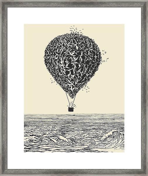 Birds Flock In Balloon Formation Flying Framed Print by Ryger